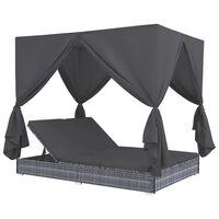 vidaXL dārza atpūtas gulta ar aizkariem, pelēka PE rotangpalma
