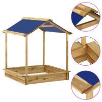 vidaXL āra rotaļu māja ar smilšu kasti, 128x120x145 cm, priedes koks
