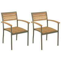 vidaXL dārza krēsli, 2 gab., akācijas masīvkoks un tērauds
