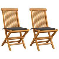 vidaXL dārza krēsli, antracītpelēki matrači, 2 gab., masīvs tīkkoks
