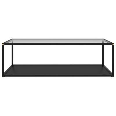 vidaXL tējas galdiņš, melns, caurspīdīgs, 120x60x35 cm, rūdīts stikls