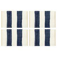 vidaXL Chindi galda paliktņi, 4 gab., zili un balti, 30x45 cm