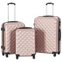 vidaXL cieto koferu komplekts, 3 gab., ABS, zeltaini rozā