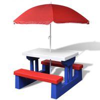 vidaXL bērnu piknika galds ar soliem un saulessargu, daudzkrāsains