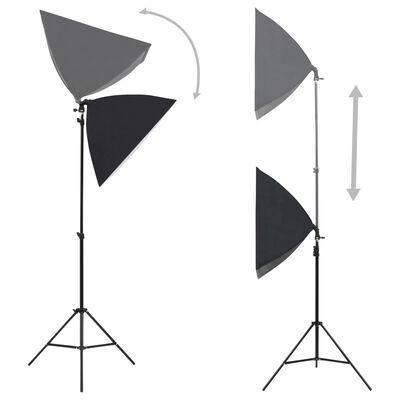 vidaXL fotostudijas komplekts - gaismas izkliedētāji un foni