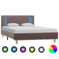 vidaXL gultas rāmis ar LED, pelēkbrūns audums, 140x200 cm