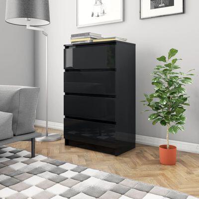 vidaXL kumode, 60x35x98,5 cm, kokskaidu plāksne, spīdīgi melna