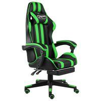vidaXL biroja krēsls ar kāju balstu, melna un zaļa mākslīgā āda