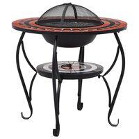 vidaXL galds ar ugunskura vietu, mozaīka, 68 cm, sarkanbrūns, balts