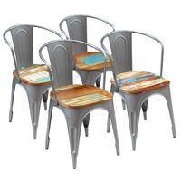 vidaXL virtuves krēsli, 4 gab., pārstrādāts masīvkoks