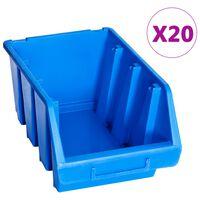 vidaXL uzglabāšanas nodalījumi, 20 gab., zila plastmasa