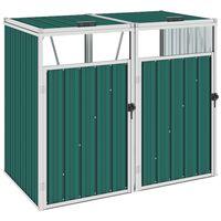 vidaXL divdaļīga nojume atkritumu konteineriem, zaļa, 143x81x121 cm