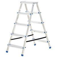 vidaXL divpusējas kāpnes, 5 pakāpieni, 113 cm, alumīnijs