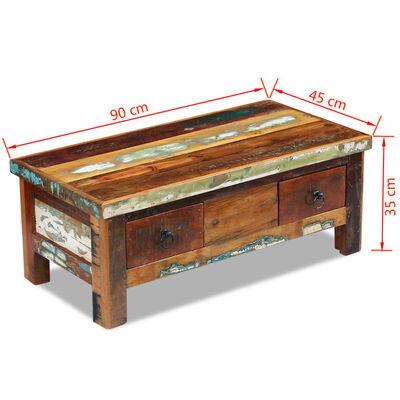 vidaXL kafijas galdiņš ar atvilktnēm, pārstrādāts koks, 90x45x35 cm