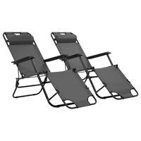vidaXL sauļošanās krēsli, 2 gab., ar kāju balstu, tērauds, pelēki