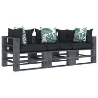 vidaXL trīsvietīgs palešu dīvāns ar pelēkiem un puķainiem matračiem