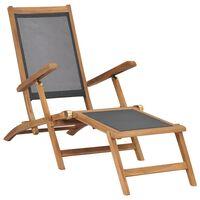 vidaXL pludmales krēsls ar kāju balstu, masīvs tīkkoks, melns