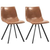vidaXL virtuves krēsli, 2 gab., konjaka krāsas mākslīgā āda