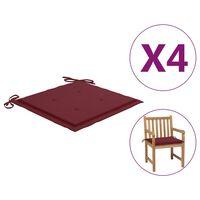 vidaXL dārza krēslu matrači, 4 gab., vīnsarkans audums, 50x50x4 cm