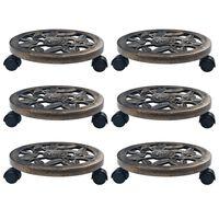 vidaXL puķu podu paliktņi ar riteņiem, 6 gab., bronzas krāsa, 30 cm