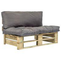 vidaXL dārza palešu dīvāns ar pelēkiem matračiem, priedes koks