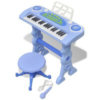 Bērnu rotaļu sintezators ar solu un mikrofonu, 37 taustiņi, zils