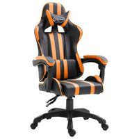 vidaXL datorspēļu krēsls, oranža mākslīgā āda