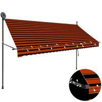 vidaXL izvelkama markīze ar LED, manuāla, 300 cm, oranža un brūna