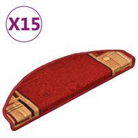 vidaXL kāpņu paklāji, 15 gab., pašlīmējoši, 65x21x4 cm, sarkani