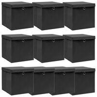 vidaXL uzglabāšanas kastes ar vāku, 10 gab., melnas, 32x32x32 cm