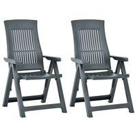 vidaXL atgāžami dārza krēsli, 2 gab., zaļa plastmasa