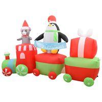 vidaXL piepūšams vilciens ar pingvīnu un peli, LED, IP44, 350 cm