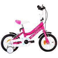 vidaXL bērnu velosipēds, 12 collas, melns ar rozā