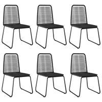 vidaXL dārza krēsli, 6 gab., melna PE rotangpalma
