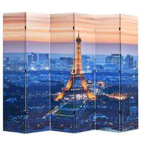 vidaXL istabas aizslietnis, 228x170 cm, saliekams, Parīze naktī