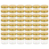 vidaXL ievārījuma burciņas, zelta krāsas vāciņi, 48 gab., 110 ml
