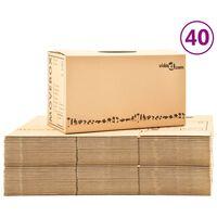 vidaXL pārvākšanās kastes, 40 gab., kartons, XXL, 60x33x34 cm