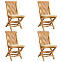 vidaXL dārza krēsli, krēmkrāsas matrači, 4 gab., masīvs tīkkoks