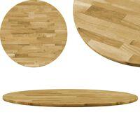 vidaXL galda virsma, 500 mm, 23 mm, apaļa, ozola masīvkoks