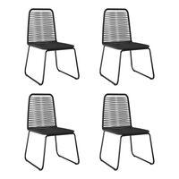 vidaXL dārza krēsli, 4 gab., melna PE rotangpalma