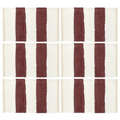 vidaXL Chindi galda paliktņi, 6 gab., vīnsarkani un balti, 30x45 cm