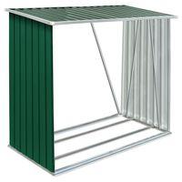 vidaXL malkas nojume, zaļa, 163x83x154 cm, cinkots tērauds