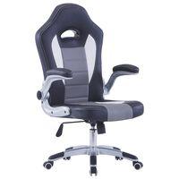 vidaXL datorspēļu krēsls, melna mākslīgā āda
