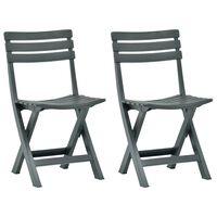 vidaXL saliekami dārza krēsli, 2 gab., zaļa plastmasa