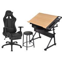 vidaXL biroja krēsls un rasēšanas galds ar noliecamu virsmu