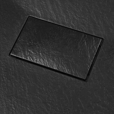 vidaXL dušas pamatne, 90x80 cm, SMC, melna