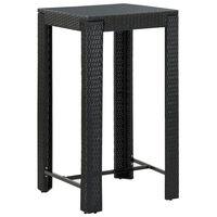 vidaXL dārza bāra galds, melns, 60,5x60,5x110,5 cm, PE rotangpalma