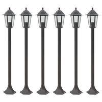 vidaXL dārza lampas, 6 gab., bronzas krāsa, 110 cm, alumīnijs, E27