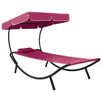 vidaXL āra atpūtas gulta ar jumtu un spilveniem, rozā