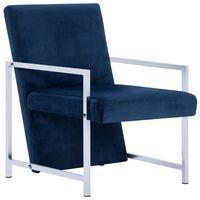 vidaXL atpūtas krēsls ar hromētām kājām, zils samts